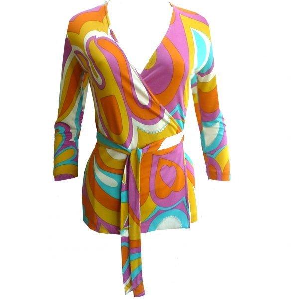 Emme citrus flora kung silk jersey wrap blouse
