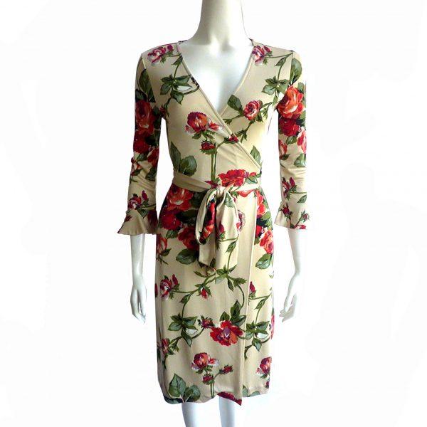 flora kung rose print wrap dress