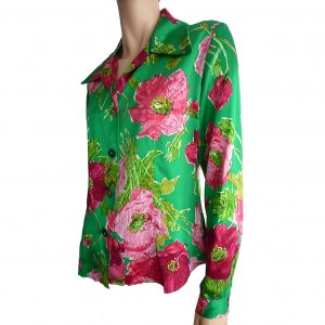 button front floral jade blouse in silk satin charmeuse