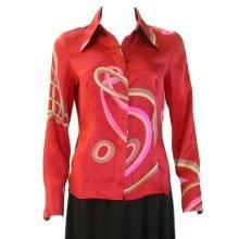 airin red satin blouse