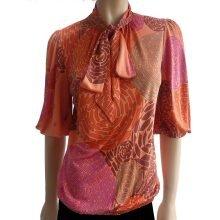 Flora Kung orange pink mocha print silk jersey kari blouse