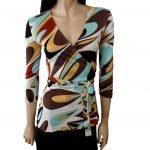 flora kung silk jersey emme wrap blouse beautiful teardrop print