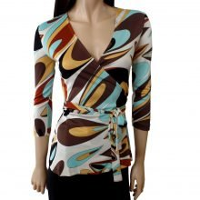 flora kung silk jersey emme wrap blouse beautiful teardrop print