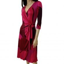 FLORA KUNG deep pink raspberry pure silk jersey catherine wrap dress full skirt