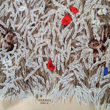 hermes rabbit hare poppy scarf @selectioncoste.com