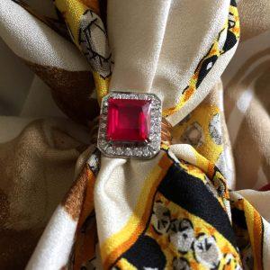 Princess cut 3-carat 18K ruby diamond ring @SelectionCoste.com