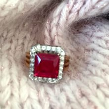 Princess cut 3-carat 18K ruby diamond ring @SelectionCoste.com