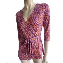 Emme purple flora kung silk jersey wrap blouse
