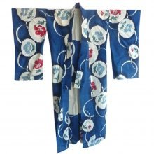 Blue cotton printed vintage Japanese kimono @SelectionCoste.com