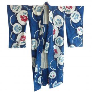 Blue cotton printed vintage Japanese kimono @SelectionCoste.com