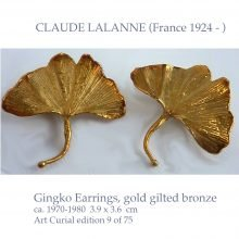 CLAUDE LALANNE gingko gold gilt earrings
