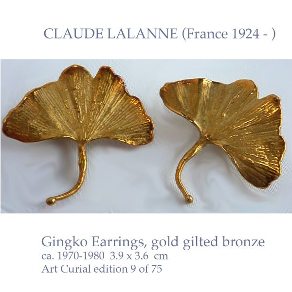 CLAUDE LALANNE gingko gold gilt earrings
