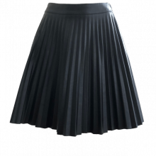 Pleated Vegan Leather Skirt
