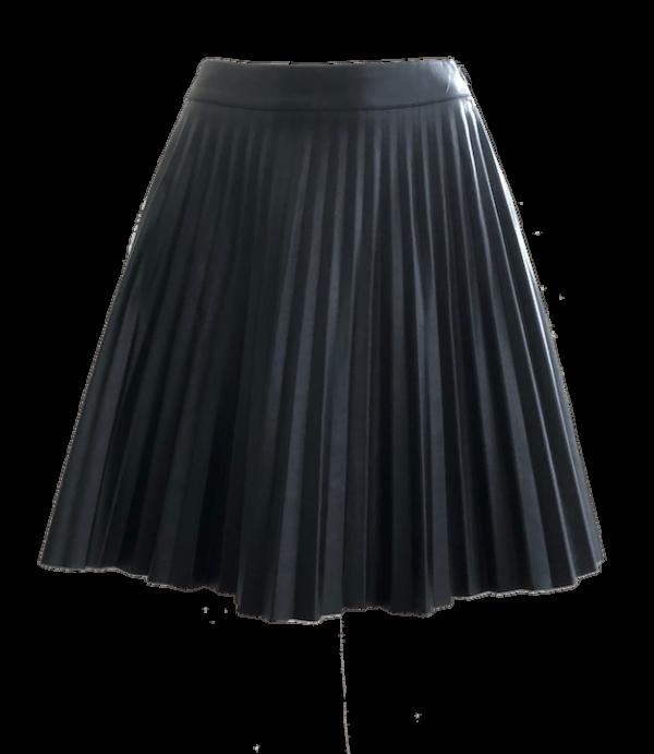 Pleated Vegan Leather Skirt