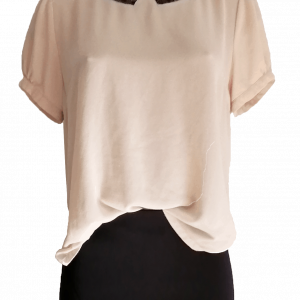 Puff Sleeve Nude Blouse with Black Lace