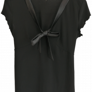 Black jersey blouse with satin tie