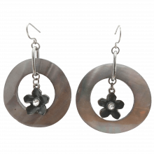 Vintage Natural Abalone Flower Dangling Earrings