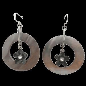 Vintage Natural Abalone Flower Dangling Earrings