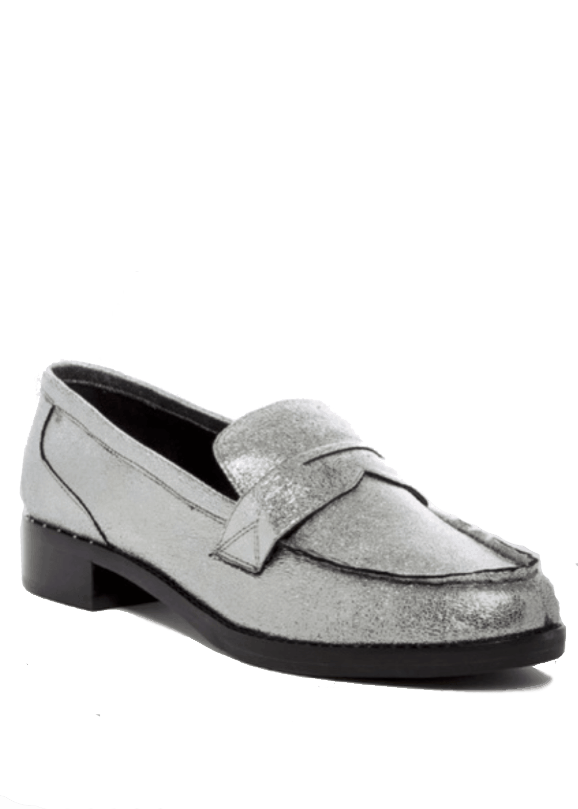 Marc Fisher Pewter Leather Penny Loafers
