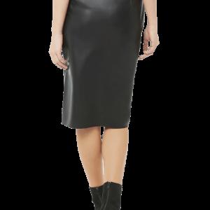 Vegan Leather Pencil Skirt with Slit