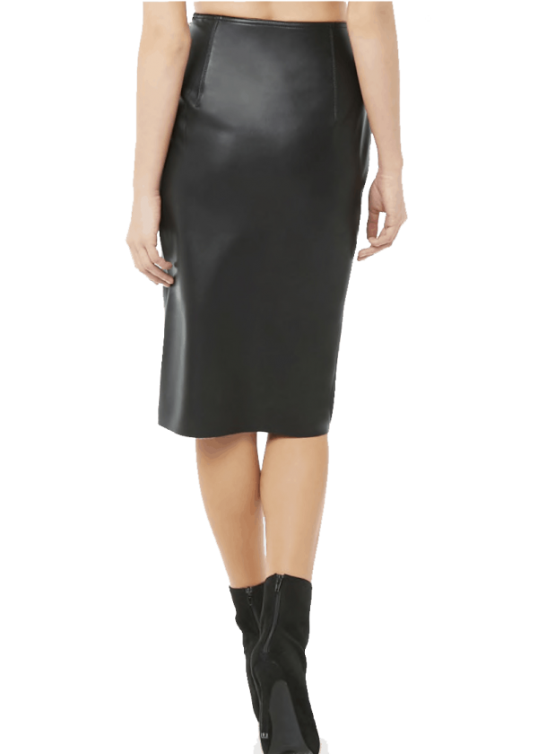 Vegan Leather Pencil Skirt with Slit