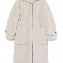 H&M Hooded Faux Fur Wool Teddy Coat