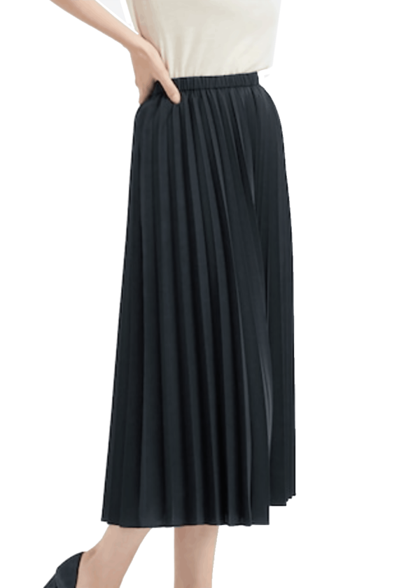 Uniqlo Lined Pleated Dark Navy Skirt