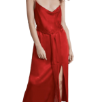 Zara Red Silky Long Dress with Fringe Sash