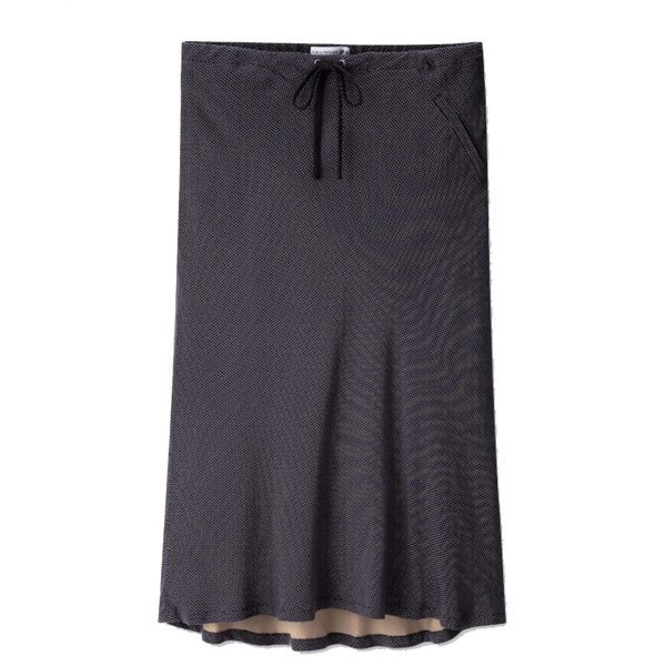 Ines-de-la-Fressange-navy-pindot-pull-on-A-line-skirt
