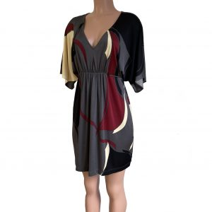 bibi gray black red silk caftan