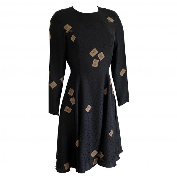 flora kung black silk printed mahjong tile dress