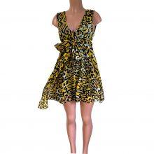 Tiff-yellow-animal-print-flora-kung-silk-georgette-dress