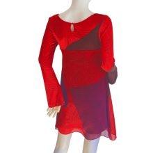 boho-scribble-print-red-silk-mix-media-dress-flora-kung