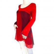scribble-print-red-black-silk-mix-media-boho-dress-flora-kung